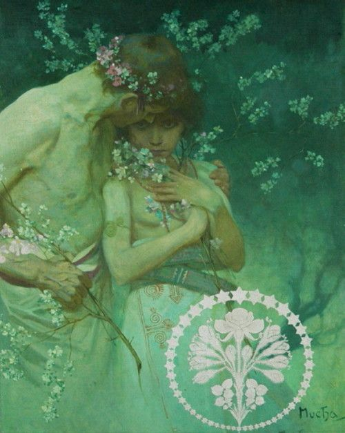"Spring Night, Alphonse Mucha. This painting was published as the May 1922 cover of ""Hearst's International"" magazine."