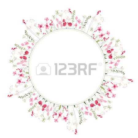 Detailed contour wreath with herbs and wild stylized flowers isolated on white Round frame for your  Stock Vector