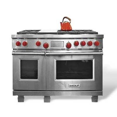 """Pro-style looks and big-BTU heating are widely available. Fuel type, capacity, and features will determine the cost. Dual-fuel classic. Wolf's 48-inch """"dual-fuel"""" range has six gas burners (one with dual simmer/boil settings) and a griddle, plus two electric ovens for even baking—a double-convection 4.5-cubic-footer and a 2.5-cubic-foot side oven. Bonus: adjustable legs for leveling. About $11,000; Sub-zero"""