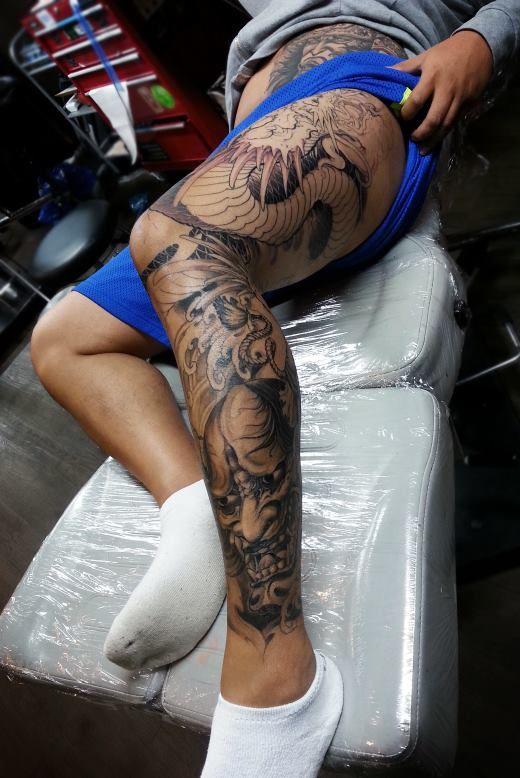 Chronic Ink Tattoo - Toronto Tattoo  Hannya mask and dragon leg sleeve tattoo in progress, done by Tony.