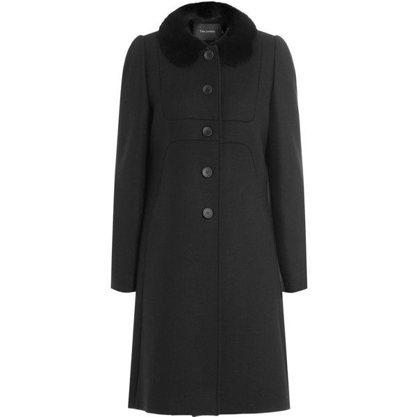 Tara Jarmon Coat ($669) ❤ liked on Polyvore featuring outerwear, coats, black, long sleeve coat, puff sleeve coat, tara jarmon coat, tara jarmon and slim fit coat