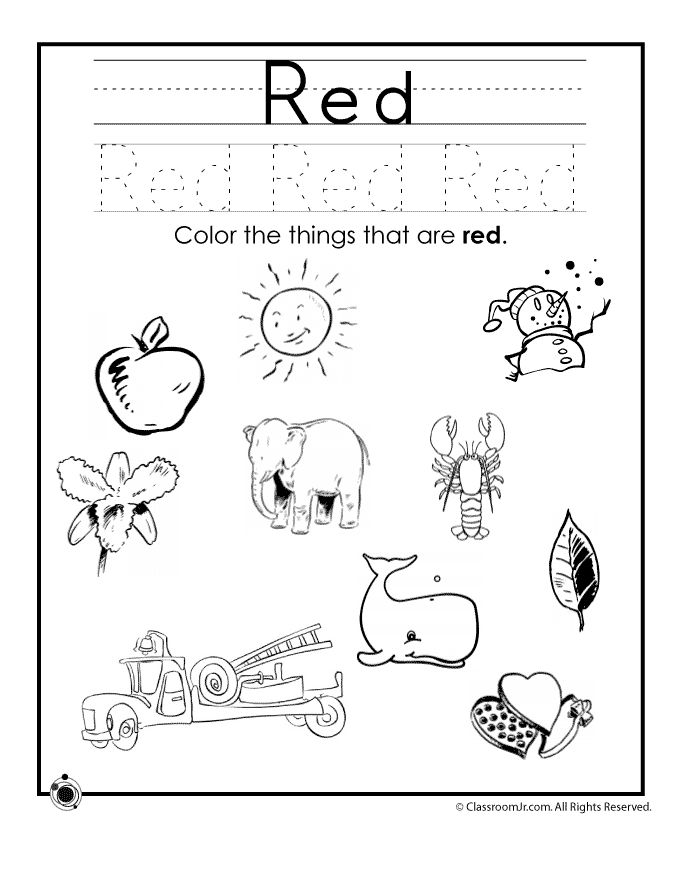 Learning Colors Worksheets For Preschoolers Color Red Worksheet Classroom Jr