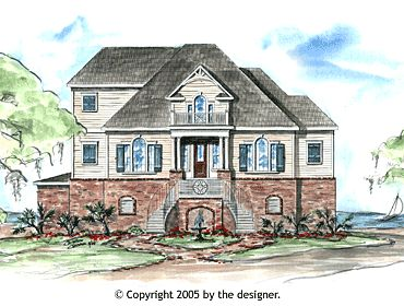 Garrell Associates, Inc. Springtide House Plan # Front Elevation, Coastal  Style House Plans, Tidewater Style House Plans, Design By Michael W.