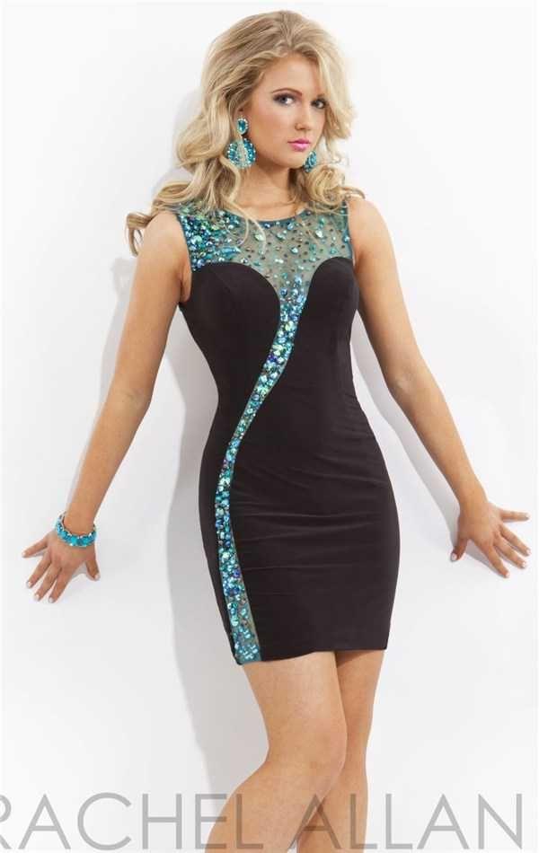 Hot Fitted Beaded Rachel Allan 2798 Cocktail Dresses Cheap