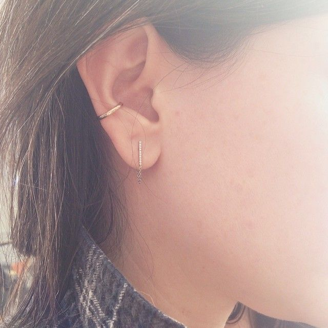 catbird pavé diamond ballerina earrings & conch piercing- pretty yet simple