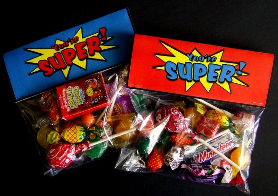 INSTANT DOWNLOAD Printable Superhero Birthday Treat Bag Toppers by PartyPrintz.etsy.com
