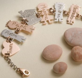 I Bamboli #bracelet #Charms of your #family, #house,# dog...  Very popular in #Italy  #madeinItaly #bologna #gold #silver #rosegold #little #cute