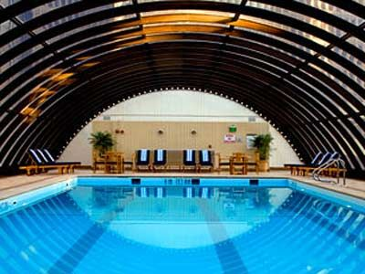 Elevated Year Round Pool With Retractable Curved Gl Roof At Westin Peachtree Plaza Atlanta