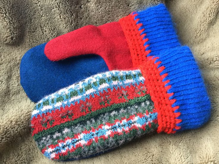 Recycled Sweater mittens for sale Onthenogginartstudio at Etsy