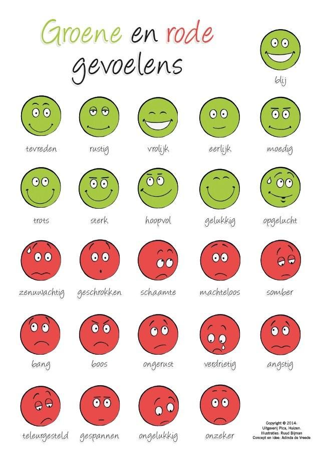 Adinda de Vreede, auteur van 'Teken je gesprek' en 'Helpende Gedachten', bedacht een slimme tool die iedere besteller deze week automatisch ontvangt. Op deze grappige kaart vind je zgn. groene en rode gevoelens; handig om in een gesprek een kind een gevoel te helpen benoemen. Lees hier meer over de titels van Adinda: http://www.uitgeverijpica.nl/auteurs/88-adinda-de-vreede