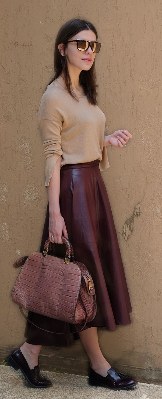 Brown Maxi Leather Skirt Streetstyle by Maritsa