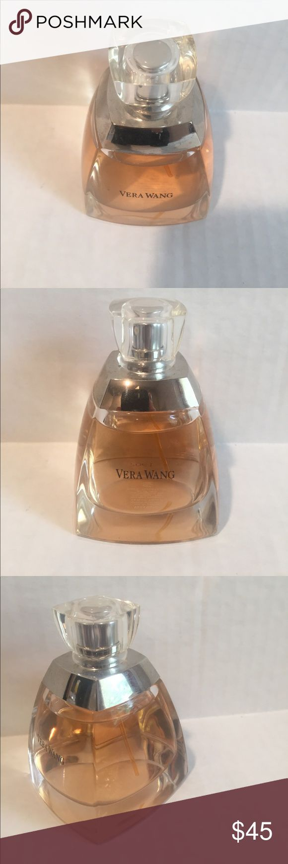 Vera Wang eau de parfum spray/vaporisateur 3.4 FL. This 3.4 FL. OZ. eau de parfum spray/vaporisateur bottle has captured desire in a modern floral bouquet. The first encounter is a flirtation that begins with Bulgarian rose calla lily and mandarin flower. The flirtation is followed by a passionate kiss of gardenia lotus iris and white stephanotis. The fragrance is wrapped in a final embrace of sheer musks white woods and precious floral nectar. There is approx. 96% or more left in this…
