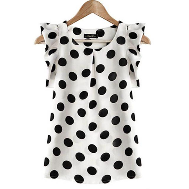 Nueva camiseta del verano de las para mujer de la gasa inflado manga corta Dot Print blusa superior