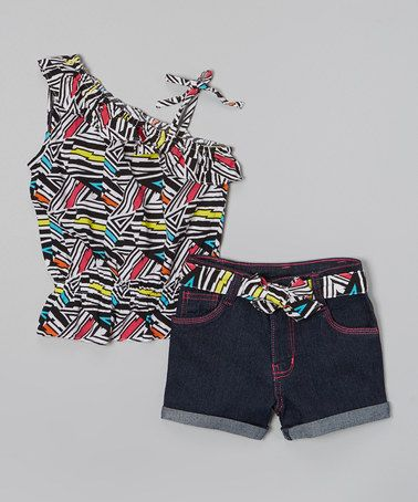 This White & Neon Asymmetrical Top & Shorts - Infant, Toddler & Girls is perfect! #zulilyfinds