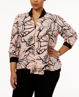 Ny Collection Plus Size Floral-Print Bomber Jacket - Pink 1X
