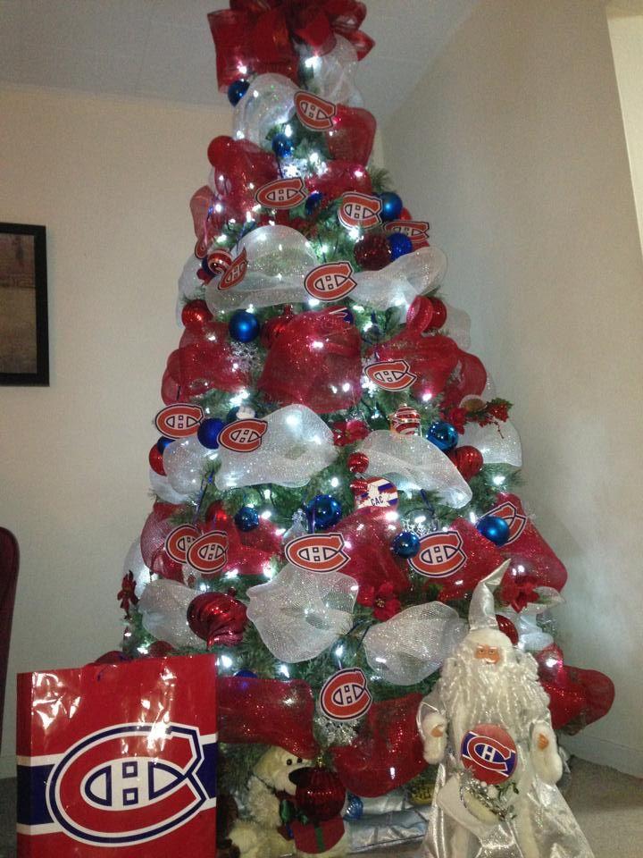 Directement du Nouveau-Brunswick, voici l'arbre de Noël bleu-blanc-rouge de Karla et Terry! / Straight from New Brunswick, here's Karla and Terry's bleu-blanc-rouge Christmas tree! (Soumis par / Submitted by Karla Roy - Facebook)