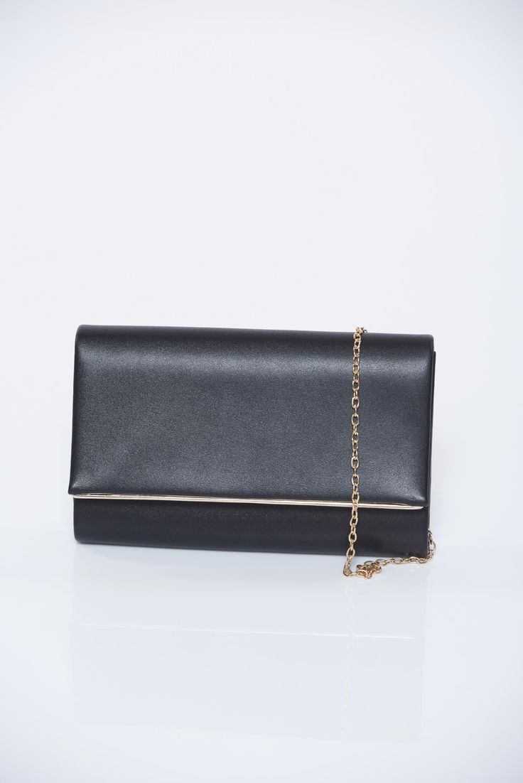 Black occasional bag with metallic aspect accessorized with chain, accessorized with chain, metallic aspect, women`s bag, one eyelet fastening