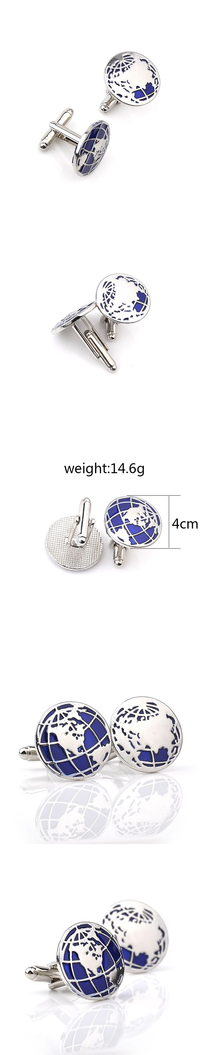 2017 Rushed Sale Classic Cuff For Round Gemelos Gemelos Para Camisas Tie Clip French Men Cufflinks The Earth Map Drip