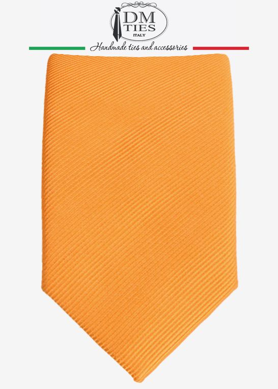 DIVINA - Cravatta slim arancione in seta tessuta - CRAVATTE TINTA UNITA