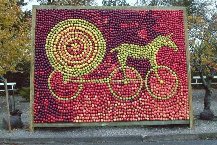 Mosaik af æbler forestillende Solvognen fra Æblets dag i 2002 på Fejø. Andre års æblemosaikker forestiller bl.a. en scene fra nordisk mytologi med Idun og Brage, et papirklip af H.C. Andersen og Adam og Eva i paradisets have.