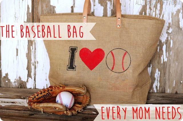 Darling baseball bag from Brooke at All Things Thrifty #baseballmom #allthingsthrifty