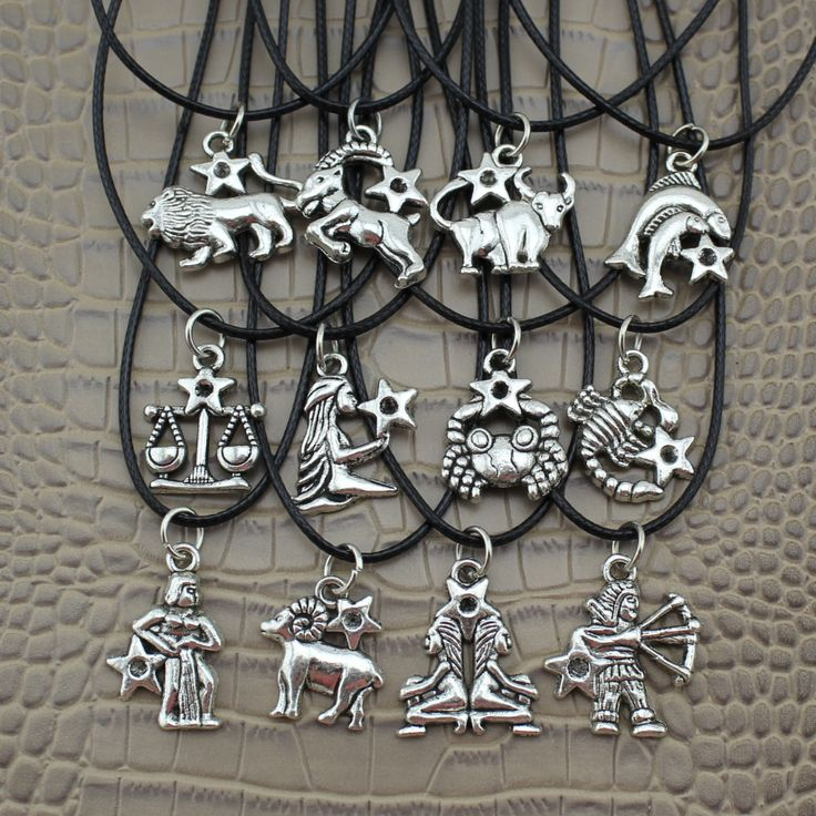 """2016 Fashion Jewelry Vintage Silver The 12 Zodiac Signs Pendant 17"""" Short Children Necklace DY30  Free Shipping"""