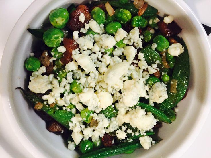spring peas, pancetta & blue cheese