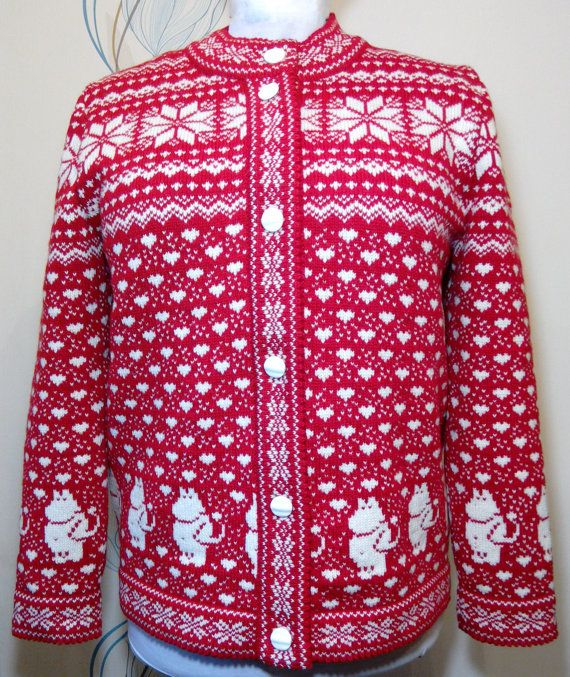 Cardigan for adult with moomin pattern by LanaNere on Etsy