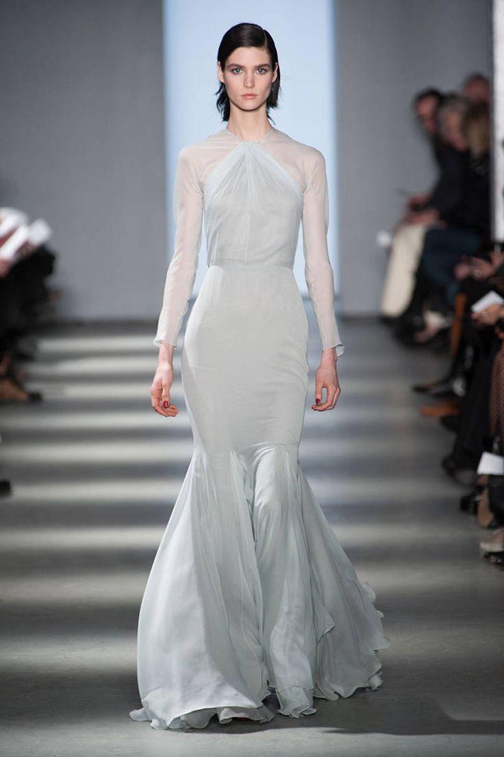 Modest long sleeve wedding gown. Soft blue, halter neckline. Wes Gordon. Best Gowns New York Runways - Best Fashion Week Gowns - ELLE