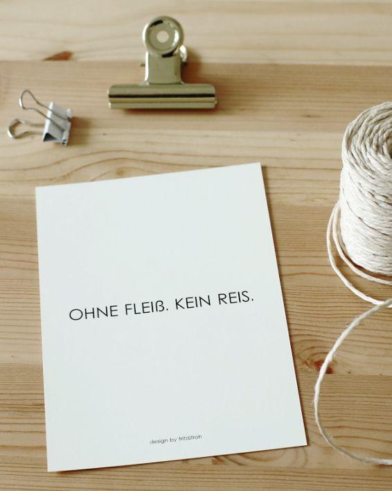Postkarte OHNE FLEIß. KEIN REIS.