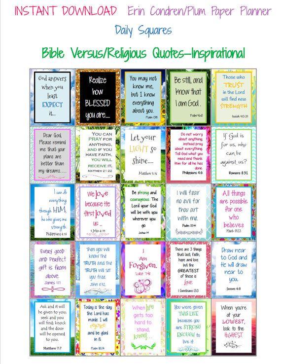 Religious Quotes/Inspiration Bible Verse Sticker Labels for Erin Condren/Plum Paper Planners. $2 printable
