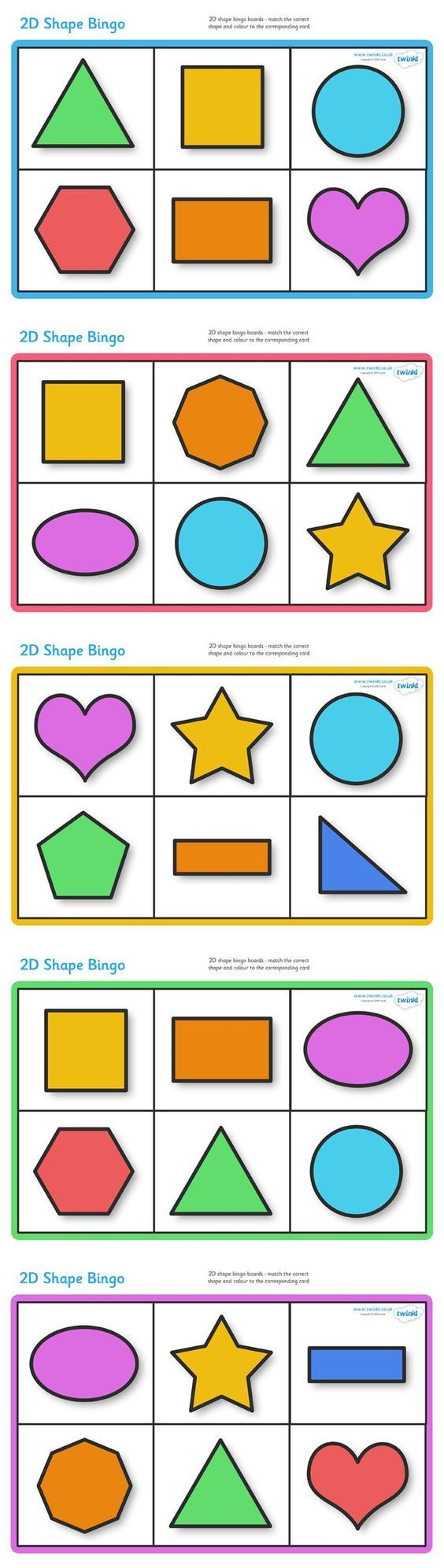 Twinkl Resources >> 2D Shape Bingo  >> Classroom printables for Pre-School, Kindergarten, Primary School and ... pinned with Pinvolve - pinvolve.co: