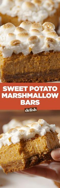 These sweet potato marshmallow bars are the dessert version of sweet potato casserole. Get the recipe on Delish.com.