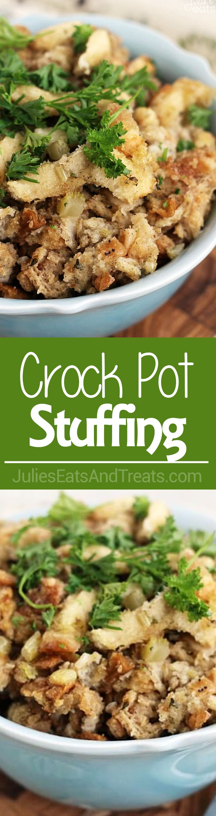 Crock Pot Stuffing ~ Slow Cooked Stuffing Stuffed with Herbs & Seasonings! So Easy and Delicious!  via @julieseats