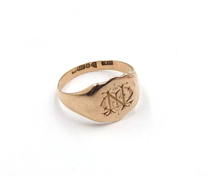 Men's Antique 9ct Rose Gold Signet Ring | 9k Man's Ring With Engraved Monogram M N | UK size Q 1/2 ~ US size 8 1/4 | Hallmarked 1912 by DaisysCabinet on Etsy