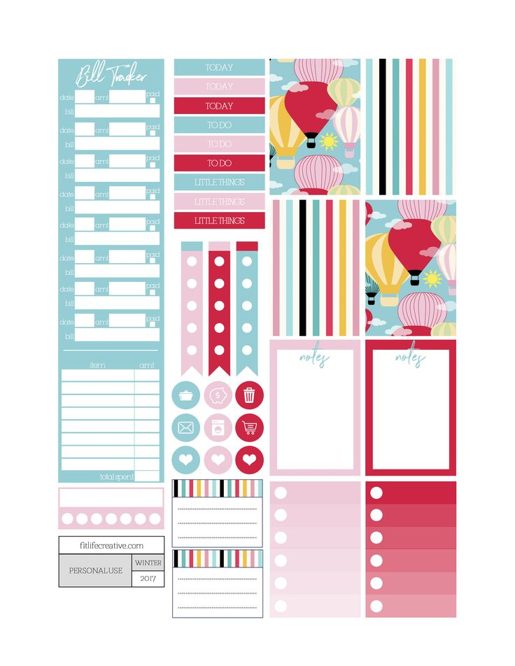 Up in the air hot air balloon themed printable planner stickers. Includes free printable planner stickers for the classic size Happy Planner.  Can also be cut down to fit the Erin Condren Life Planner or any of your favorite planners and inserts.