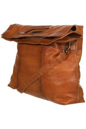 tan leather folding tote bag.