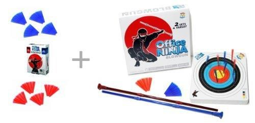 Office Ninja Two Blowguns with Ammo and Target  Ammo Refill