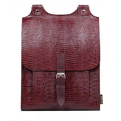 Kožený batoh vínový s bordovým řemínkem