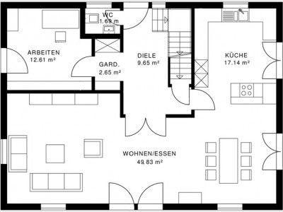 Grundriss einfamilienhaus modern gerade treppe  8 besten Grundriss gerade Treppe Bilder auf Pinterest | Grundriss ...