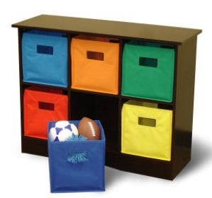 Love this cubby storage unit for a small kids playroom!