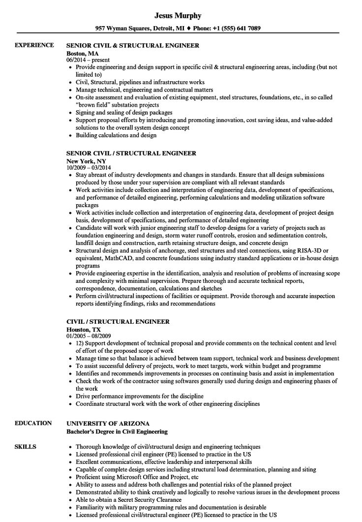 Junior Structural Engineer Resume in 2020 Business