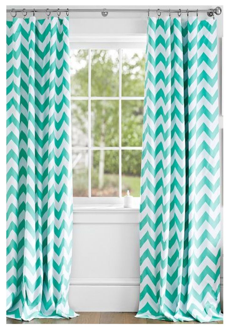 Good Mint Chevron Curtains And Cute Picture Frames.