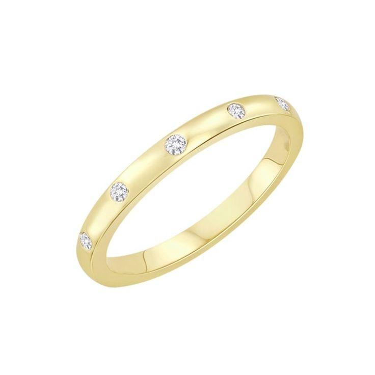 Snubní prsten. 6 Diamantů, briliantový výbrus, váha 0,08 ct., barva H, čistota SI2. žluté Zlato 0,585. Výška 2 mm. Tloušťka 1,2 mm. K dostání taky další barvy zlata. 10 370 Kč
