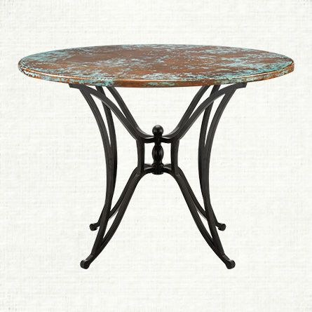 Copper Verdigris 42 Quot Round Table Top With Kenya Dining