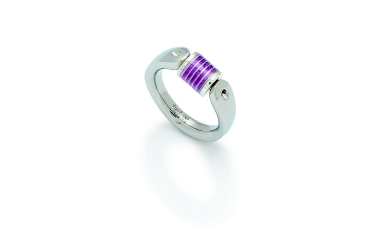 Tipit stainless steel signet ring with a violet enamel jewelry piece in sterling…