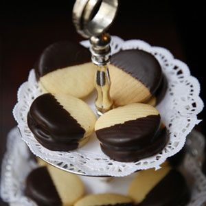 Amadeus Cookies. These have a pistachio, almond paste and kirsch filling and then are dipped in chocolate.