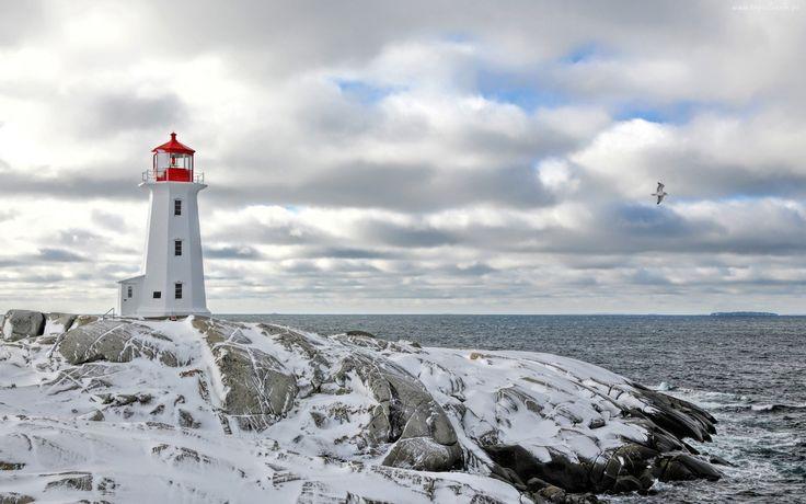 Latarnia Morska, Ocean, Skały, Chmury, Zima