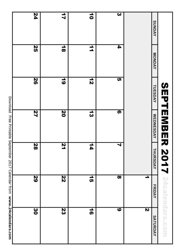calendar template september 2017