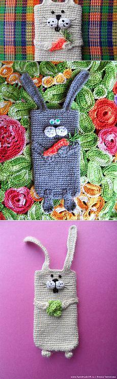 Заяц с овощами | Вязаные чехлы для мобильных телефонов | HandMade39.ru